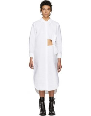 photo White Pleated Bow Shirt Dress by Roberts | Wood - Image 1