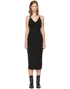 photo Black Shirred Cami Dress by T by Alexander Wang - Image 1