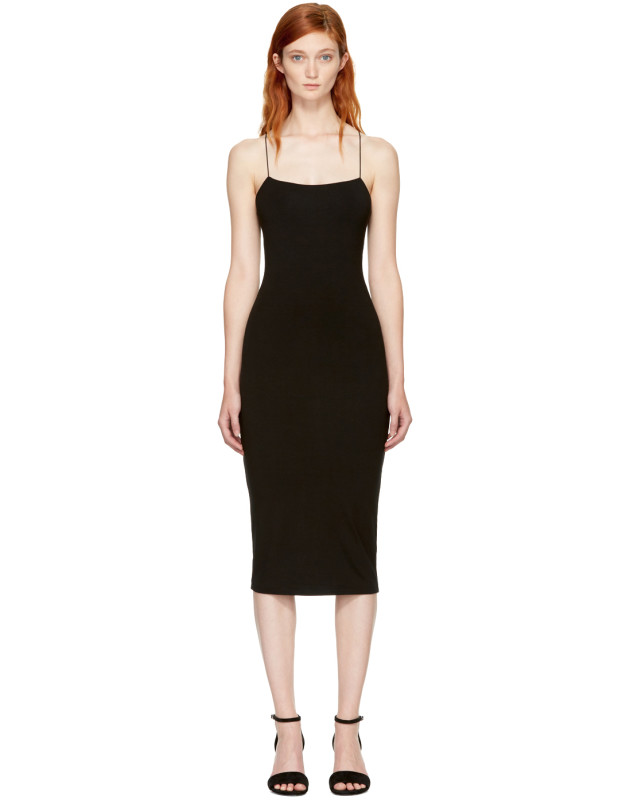 photo Black Strappy Cami Tank Dress by T by Alexander Wang - Image 1