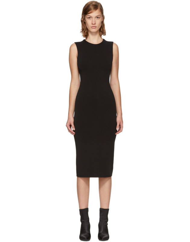 photo Black Faille Ponte Dress by T by Alexander Wang - Image 1