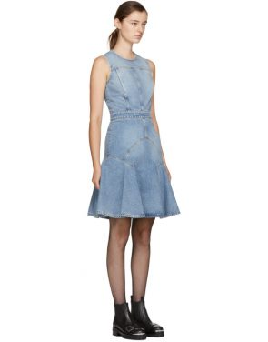 photo Blue Panelled Denim Dress by Alexander McQueen - Image 2