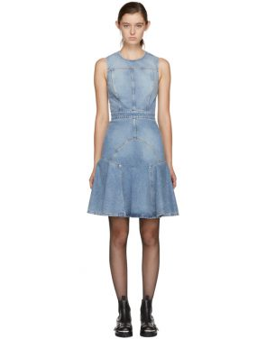 photo Blue Panelled Denim Dress by Alexander McQueen - Image 1