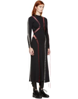 photo Black Lace-Up Knit Dress by Alexander McQueen - Image 2