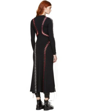 photo Black Lace-Up Knit Dress by Alexander McQueen - Image 3