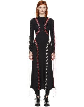 photo Black Lace-Up Knit Dress by Alexander McQueen - Image 1