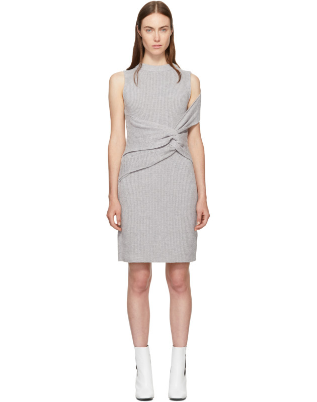 photo Grey Draped Ribbed Twist Dress by 3.1 Phillip Lim - Image 1
