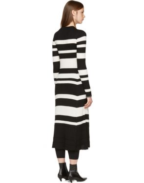 photo Black and Off-White Striped Knit Dress by Proenza Schouler - Image 3