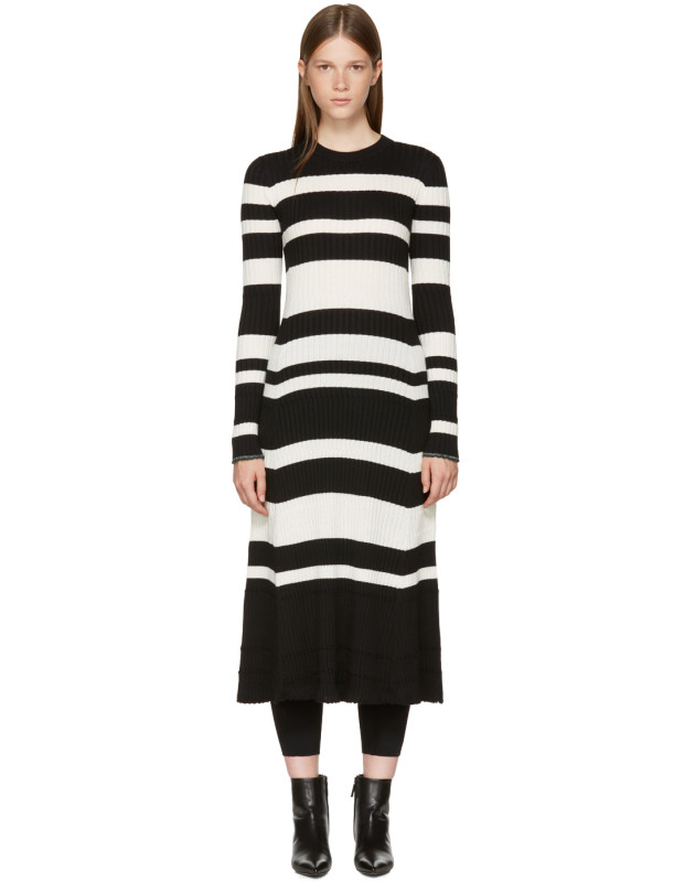 photo Black and Off-White Striped Knit Dress by Proenza Schouler - Image 1