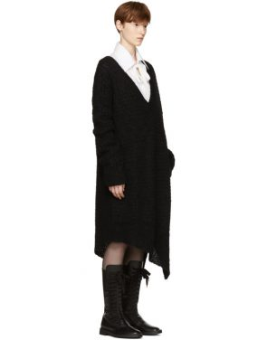 photo Black Mohair Trapper Dress by Ann Demeulemeester - Image 2