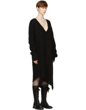 photo Black Mohair Trapper Dress by Ann Demeulemeester - Image 4