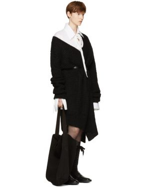 photo Black Mohair Trapper Dress by Ann Demeulemeester - Image 5