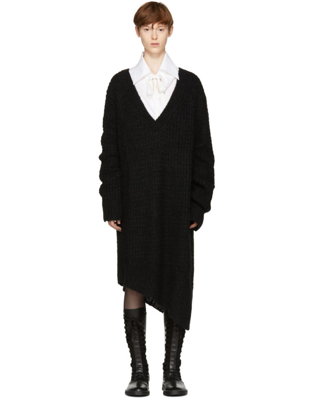 photo Black Mohair Trapper Dress by Ann Demeulemeester - Image 1
