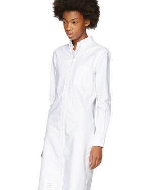 photo White Classic Shirt Dress by Thom Browne - Image 4