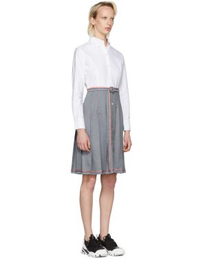 photo Grey and White Belted Illusion Shirt Dress by Thom Browne - Image 2