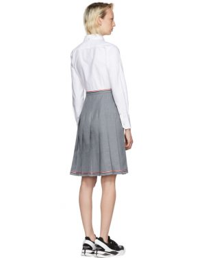 photo Grey and White Belted Illusion Shirt Dress by Thom Browne - Image 3