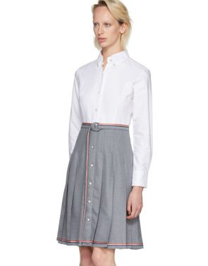 photo Grey and White Belted Illusion Shirt Dress by Thom Browne - Image 4