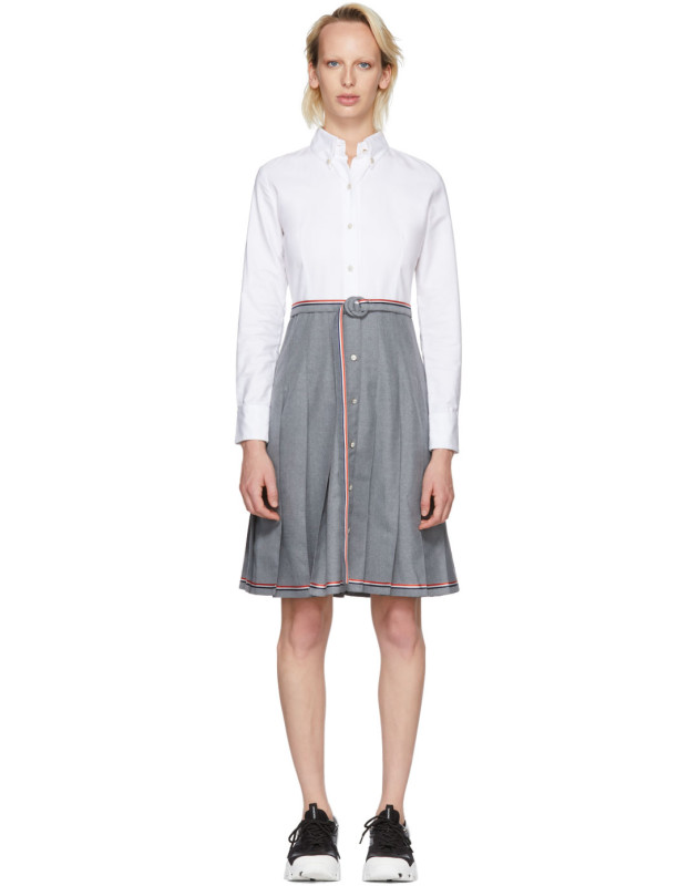 photo Grey and White Belted Illusion Shirt Dress by Thom Browne - Image 1
