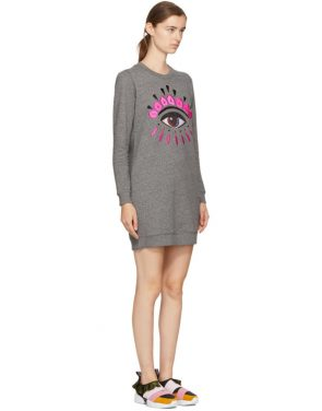 photo Grey Eye Sweatshirt Dress by Kenzo - Image 2