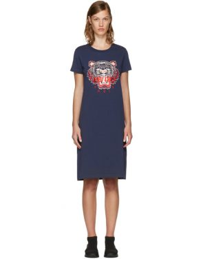 photo Navy Limited Edition Tiger T-Shirt Dress by Kenzo - Image 1