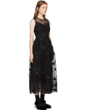 photo Black Floral Tulle Bell Dress by Simone Rocha - Image 2