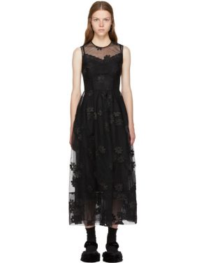 photo Black Floral Tulle Bell Dress by Simone Rocha - Image 1