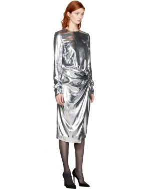 photo Silver Metallic Velvet Dress by Saint Laurent - Image 2