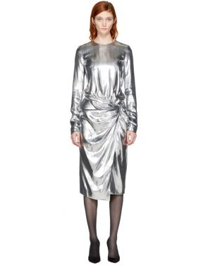 photo Silver Metallic Velvet Dress by Saint Laurent - Image 1