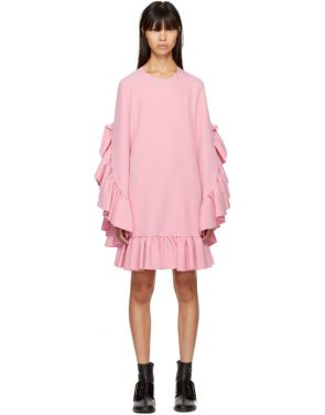 photo Pink Long Sleeve Ruffle Dress by MSGM - Image 1