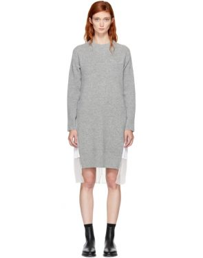 photo Grey and White Classic Shirting Dress by Sacai - Image 1