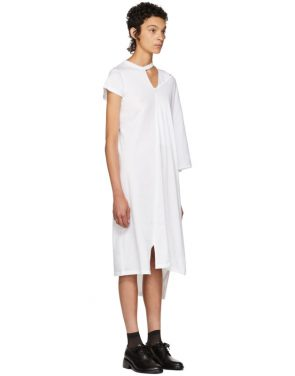 photo White Asymmetric Mantle T-Shirt Dress by Facetasm - Image 2