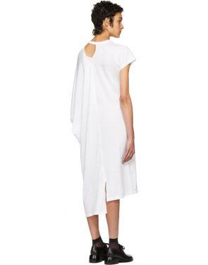 photo White Asymmetric Mantle T-Shirt Dress by Facetasm - Image 3