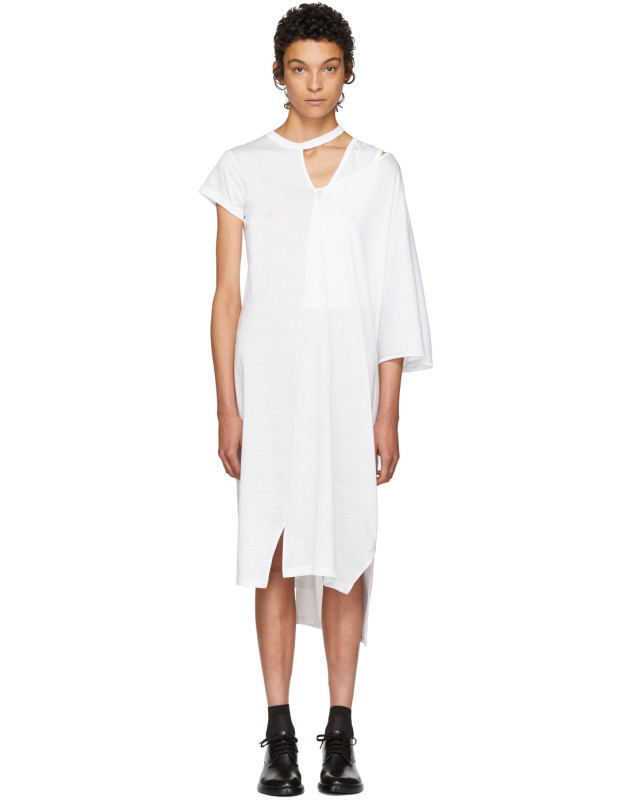 photo White Asymmetric Mantle T-Shirt Dress by Facetasm - Image 1
