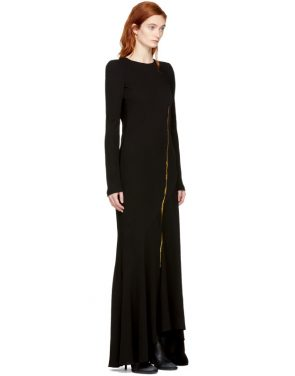 photo Black Embroidered Round Shoulder Dress by Haider Ackermann - Image 2