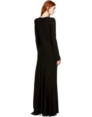 photo Black Embroidered Round Shoulder Dress by Haider Ackermann - Image 3
