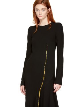photo Black Embroidered Round Shoulder Dress by Haider Ackermann - Image 4