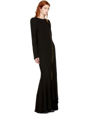 photo Black Embroidered Round Shoulder Dress by Haider Ackermann - Image 5