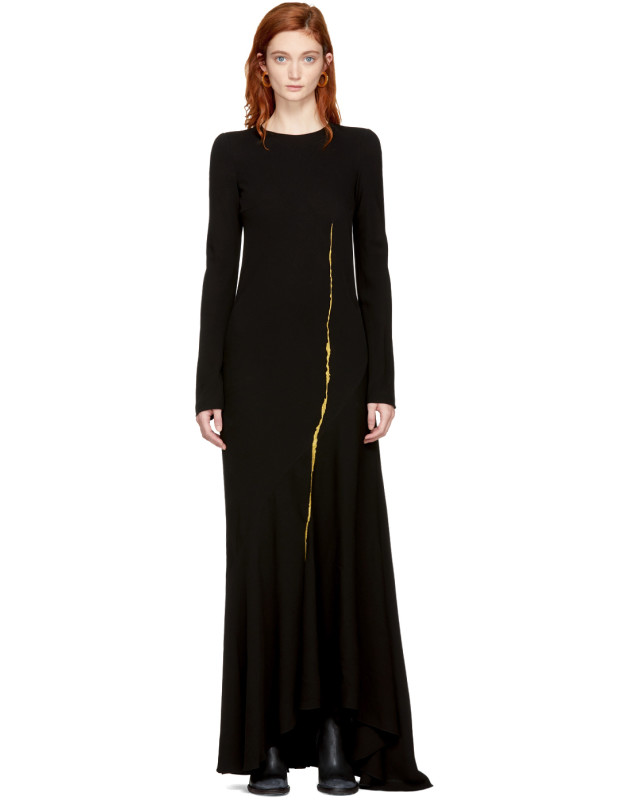 photo Black Embroidered Round Shoulder Dress by Haider Ackermann - Image 1
