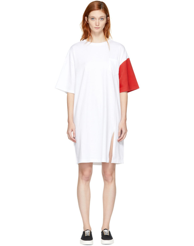 photo White and Red California Club Tee Dress by SJYP - Image 1