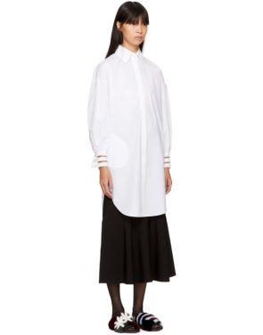 photo White Cotton Taffeta Shirt Dress by Fendi - Image 2