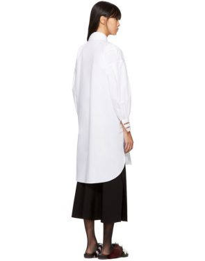 photo White Cotton Taffeta Shirt Dress by Fendi - Image 3