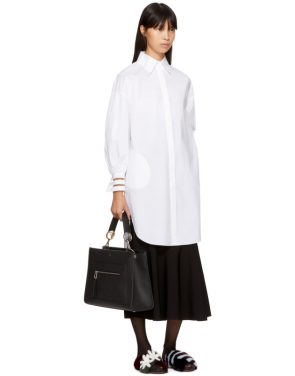 photo White Cotton Taffeta Shirt Dress by Fendi - Image 4