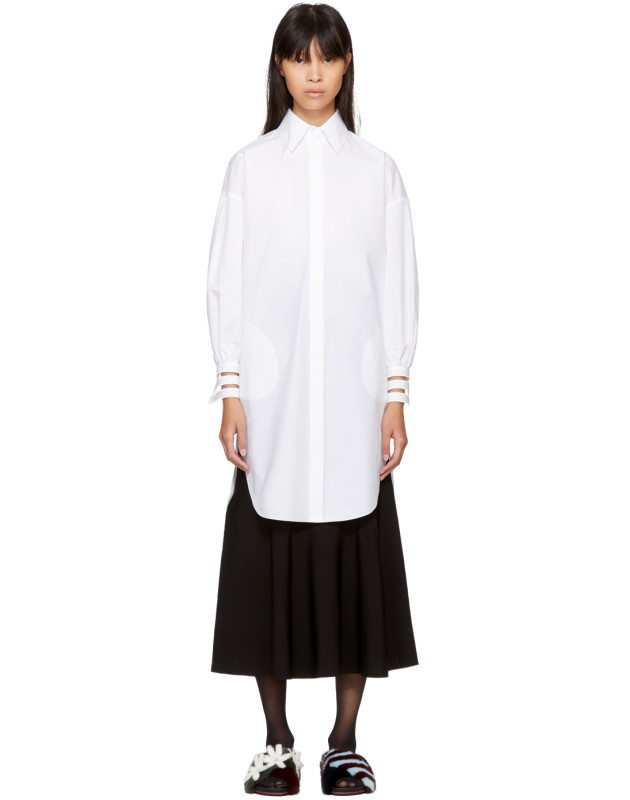 photo White Cotton Taffeta Shirt Dress by Fendi - Image 1