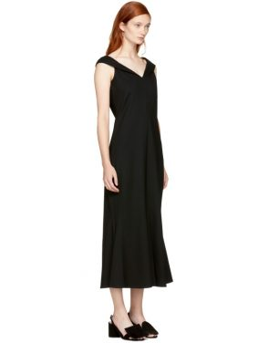 photo Black Split Neck Flared Dress by Rosetta Getty - Image 2