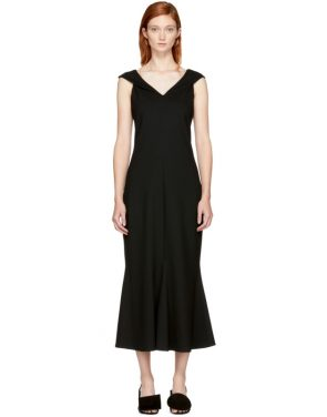 photo Black Split Neck Flared Dress by Rosetta Getty - Image 1