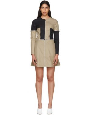photo Beige and Black Zip Dress by Courreges - Image 1