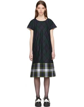photo Green and Navy Tartan Check Dress by Tricot Comme des Garcons - Image 1