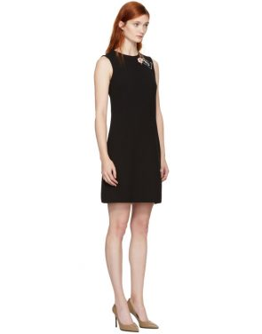 photo Black Crepe A-Line Dress by Dolce and Gabbana - Image 2
