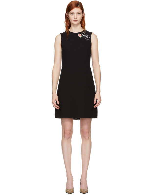 photo Black Crepe A-Line Dress by Dolce and Gabbana - Image 1