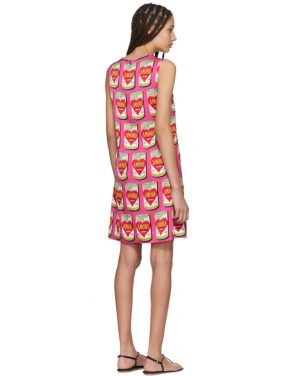 photo Pink A-Line Logo Amore Energy Dress by Dolce and Gabbana - Image 3
