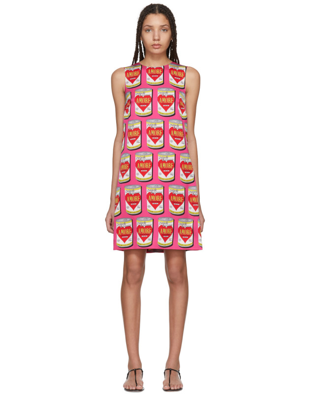 photo Pink A-Line Logo Amore Energy Dress by Dolce and Gabbana - Image 1
